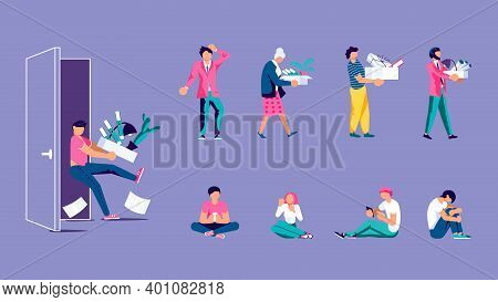 Dismissed Business Peole Isolated Set. Man And Woman Characters Holding Box With Things. Unemploymen