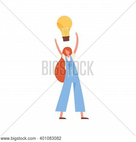 Woman With Giant Lightbulb Over Head Vector Flat Illustration. Modern Female With Creative Imaginati