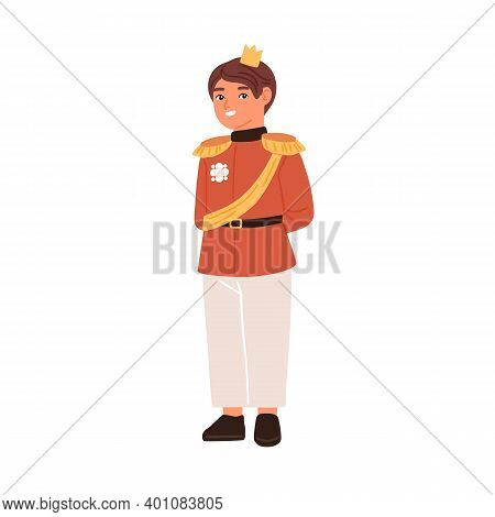 Cute Fairytale Prince With Golden Crown Isolated On White Background. Little Boy Dressed Like King F