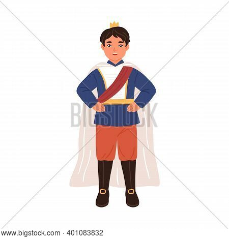 Cute Prince With Crown And In Cloak Isolated On White Background. Little Boy Dressed Like King For C