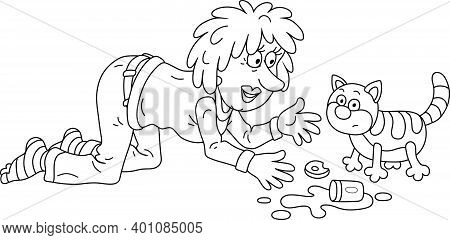 Merry Young Woman With Bright Dyed Hair Feeding And Playing With A Funny Fat Striped Cat, Black And