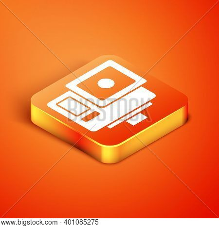 Isometric Action Extreme Camera Icon Isolated On Orange Background. Video Camera Equipment For Filmi