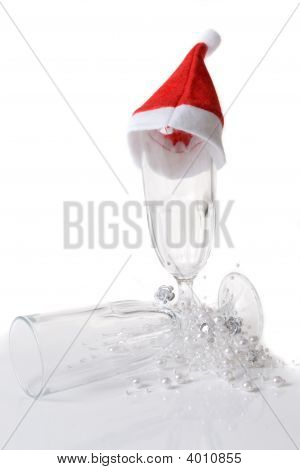Champagne Glass Decorated With Santa Hat