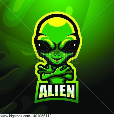 Vector Illustration Of Alien Mascot Esport Logo Design