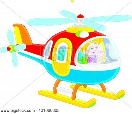 Happy Little Boy Playing And Piloting A Big And Colorful Toy Helicopter On A Playground, Vector Cart