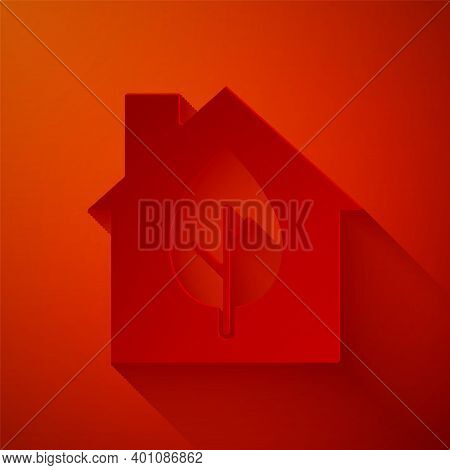 Paper Cut Eco Friendly House Icon Isolated On Red Background. Eco House With Leaf. Paper Art Style.
