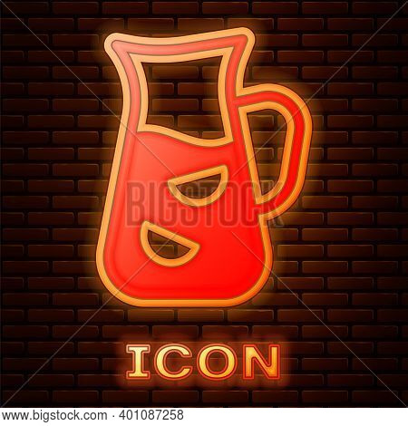 Glowing Neon Sangria Icon Isolated On Brick Wall Background. Traditional Spanish Drink. Vector