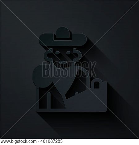 Paper Cut Spain Bullfight, Matador Icon Isolated On Black Background. Traditional Spanish Entertainm
