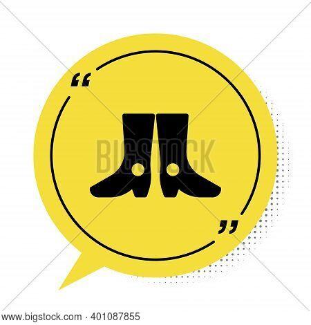 Black Ukrainian National Footwear Icon Isolated On White Background. Traditional Ethnic Boots. Yello