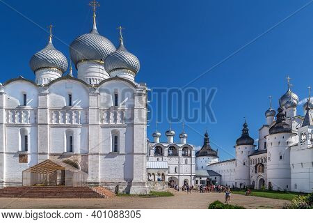 Rostov Kremlin With Assumption Cathedral In  Russia