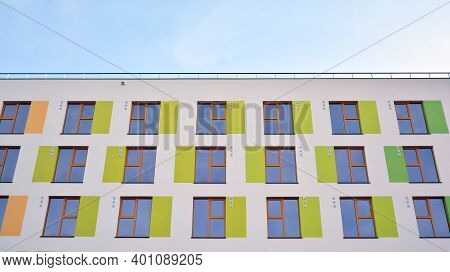 Modern Apartment Building With Colorful Facade. Beautiful Facade In A Modern Residential Building. R