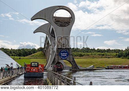 Falkirk, Scotland - August 13, 2019: Construction Of Falkirk Wheel Which Is A Rotating Boat Lift In