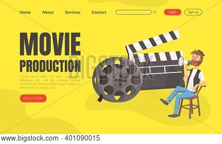 Movie Production Landing Page Template, Cinematography, Filmmaking Industry Website Interface Flat V