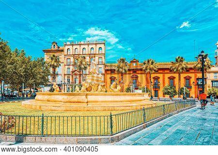 Hispalis Fountain On Puerta De Jerez Square In Seville, Spain.