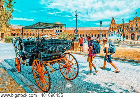 Promenade And A Horse Near Square Of The Spain Is A Square In Th