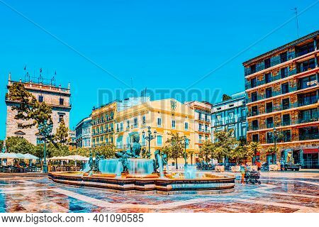 Square Of The Virgin Saint Mary Near Valencia Cathedral And  Fou