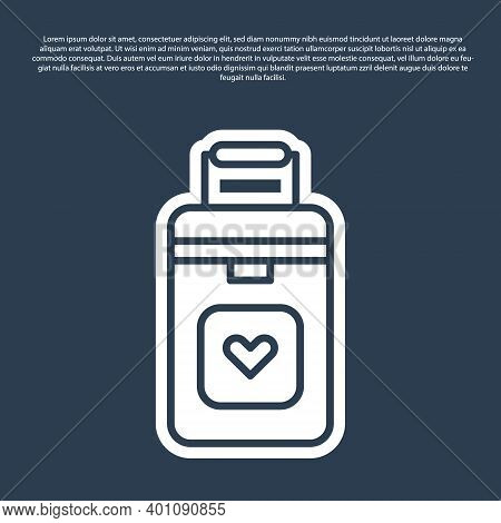 Blue Line Cooler Box For Human Organs Transportation Icon Isolated On Blue Background. Organ Transpl