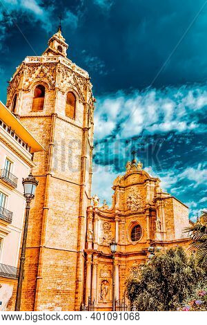 Valencia  Cathedral Temple In Old Town.spain.