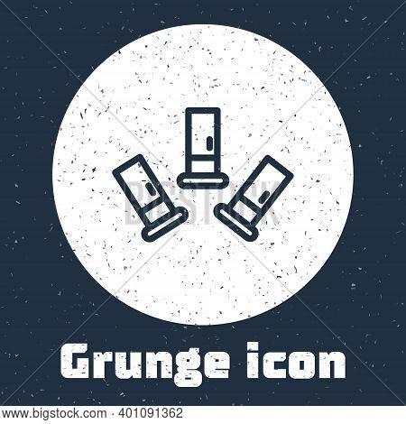 Grunge Line Cartridges Icon Isolated On Grey Background. Shotgun Hunting Firearms Cartridge. Hunt Ri