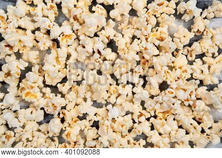 Salted Popcorn, Food Texture Background. Fastfood Popular During A Movie In A Cinema