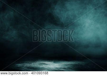 Empty Space Studio Dark Room Concrete Floor Grunge Texture Background With Spot Lighting And Fog Or