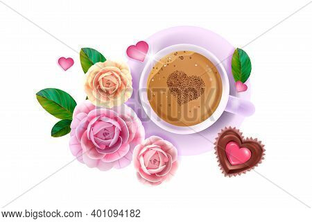 Vector Happy Valentines Day Love Flat Lay Card With Pink Roses, Flowers, Coffee Cup,heart-shaped Cho