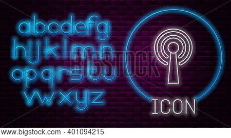 Glowing Neon Line Antenna Icon Isolated On Brick Wall Background. Radio Antenna Wireless. Technology
