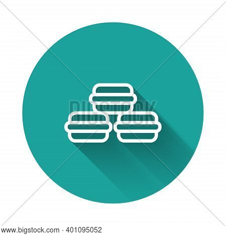 White Line Macaron Cookie Icon Isolated With Long Shadow. Macaroon Sweet Bakery. Green Circle Button