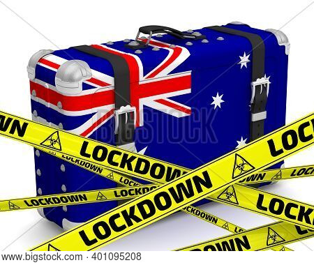 Australia Is In Lockdown. Retro Suitcase With The Flag Of The Commonwealth Of Australia On A White S