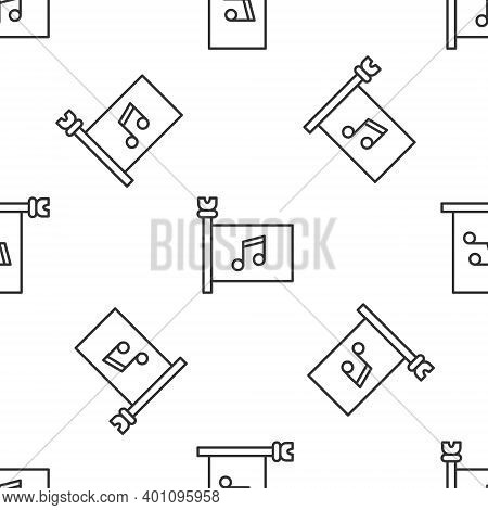 Grey Line Music Festival, Access, Flag, Music Note Icon Isolated Seamless Pattern On White Backgroun