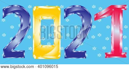 Colour Decorative Numerals Approaching Holiday New Year