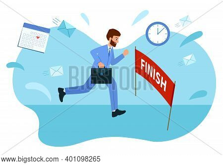Businessman Reached The Goal, Reached The Finish Line. Concept Of Overcoming