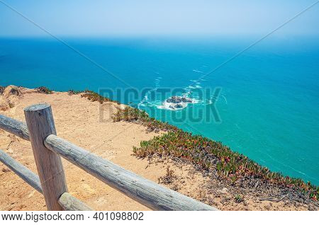 Cabo Da Roca Or Westernmost Point Of Europe And Eurasia, View Of Atlantic Ocean Turquoise Water And