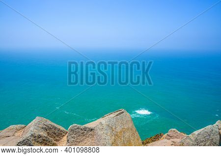 Cabo Da Roca Or Westernmost Point Of Continental Europe And Eurasia, View Of Atlantic Ocean Turquois