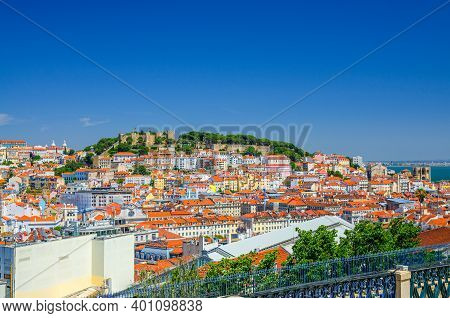 Lisbon Cityscape, Aerial Panoramic View Of Lisboa Historical City Centre With Colorful Buildings Red