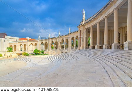 Sanctuary Of Our Lady Of Fatima With Basilica Of Our Lady Of The Rosary Catholic Church With Stairs,