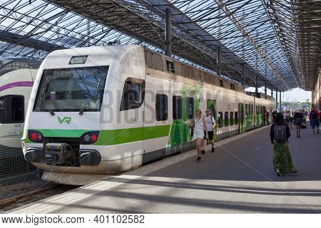 Helsinki, Finland - June 18 2019: A Train Vr Class Sm4 Emu Operated By