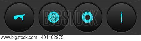 Set Car Fender, Wheel, Tire And Shock Absorber Icon. Vector
