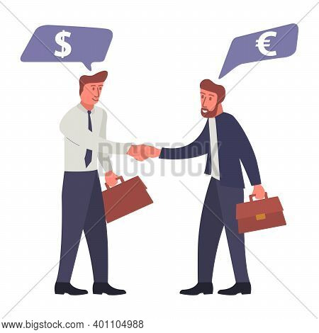 Successful Business Deal. Business Negotiations B2b.speech Bubble With Dollar And Euro Signs.