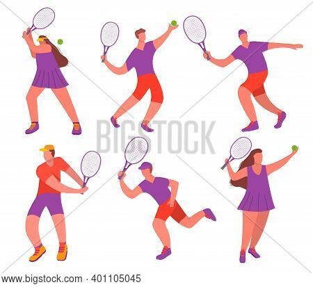Young Girl And Man Tennis Player With Racquet A Sport Game.