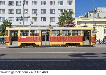 Yekaterinburg, Russia - July 16 2018: Old Tramway Of The Line 26 Desserving The City Center.
