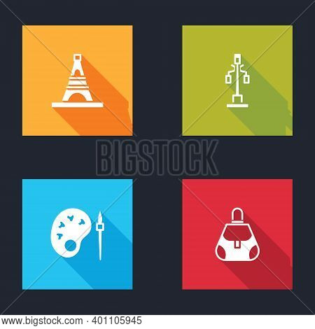 Set Eiffel Tower, Street Light, Paint Brush With Palette And Handbag Icon. Vector