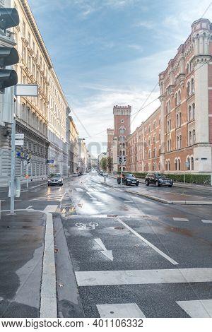 Vienna, Austria - August 30, 2020: Street Next To Ministry Of Defense Headquarters In Vienna.