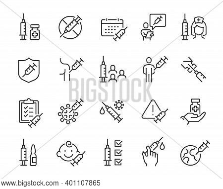 Vaccine And Vaccination Icons Set. Collection Of Simple Linear Web Icons Such As Vaccination Of Peop