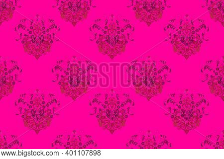 Seamless Raster Pano Pattern With Vintage Elements On Colorful Background