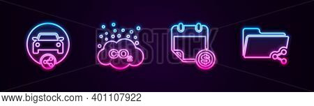 Set Line Car Sharing, Co2 Emissions Cloud, Financial Calendar And Share Folder. Glowing Neon Icon. V