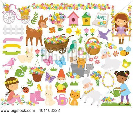 Clipart Set For Spring. Cute Cartoon Springtime Items Such As Flowers, Children, Gardening Tools And