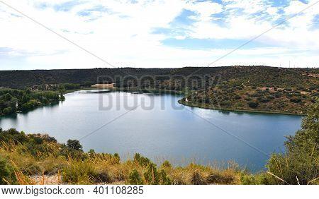 Ruidera Lagoons Natural Park. Blue Sky. Ruidera Lagoons.