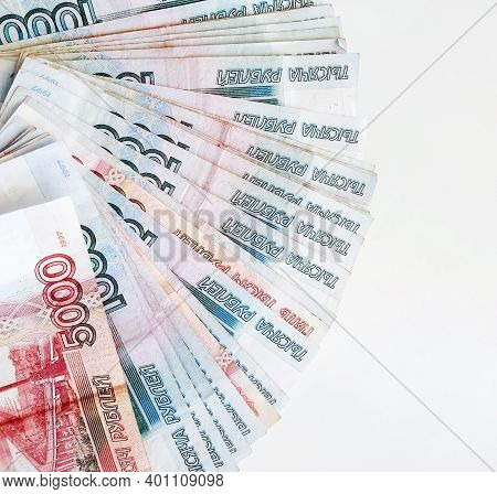 Russian Rubles Of The One Thousand And Five Thousand Categories On A White Background.