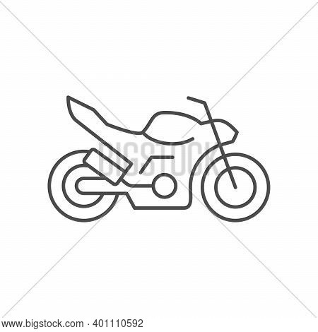 Naked Motorcycle Line Outline Icon Isolated On White. Vector Illustration